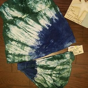 Lucky Brand Blue and Green Tie Dyed Tankini NWT